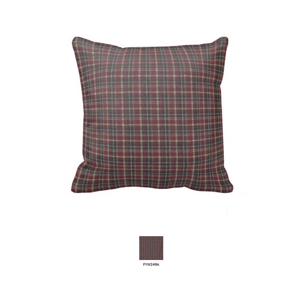 """Maroon and Black Plaid Toss Pillow 16""""W x 16""""L"""