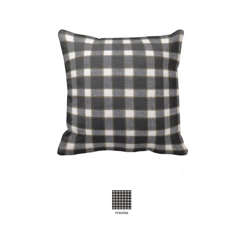 "Black and White Buffalo Check Toss Pillow 16""W x 16""L"