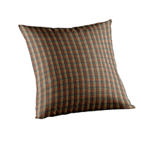"Multi Brown and Tan Plaid Toss Pillow 16""W x 16""L"