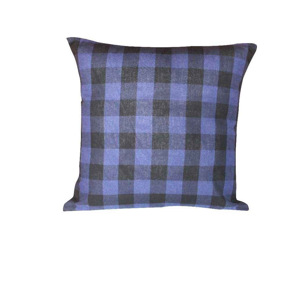 "Blue and Black Twill Buffalo Check,fabric Toss Pillow 16""W x 16""L,standard"