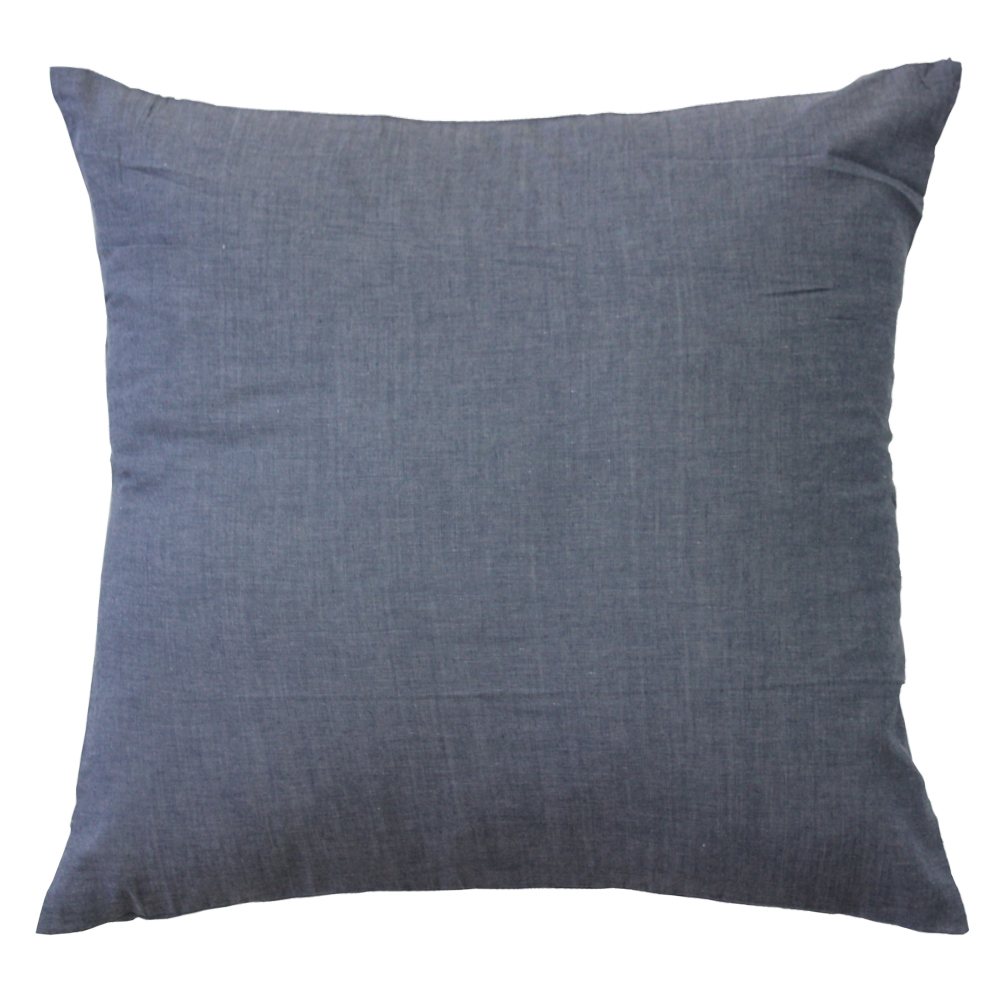 "Grey Chambray Toss Pillow 16""W x 16""L"