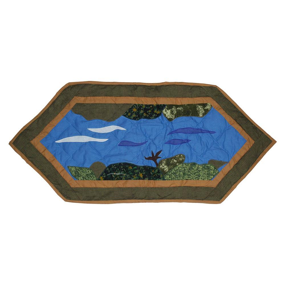 "Fly Fishing Table Runner Extra Short 36""W x 16""L"