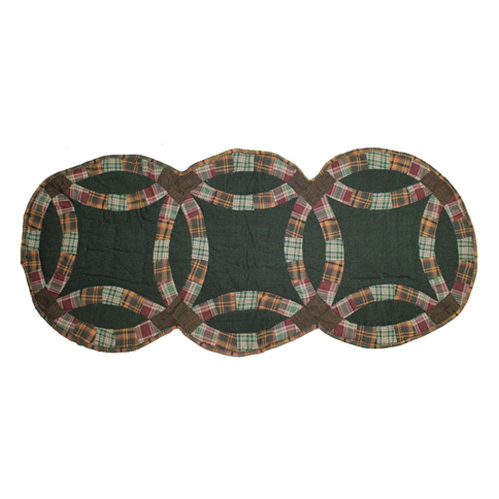 """Green Double Wedding Ring Table Runner Extra Short 36""""W x 16""""L"""