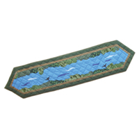 "Fly Fishing Table Runner Long 72""W x 16""L"